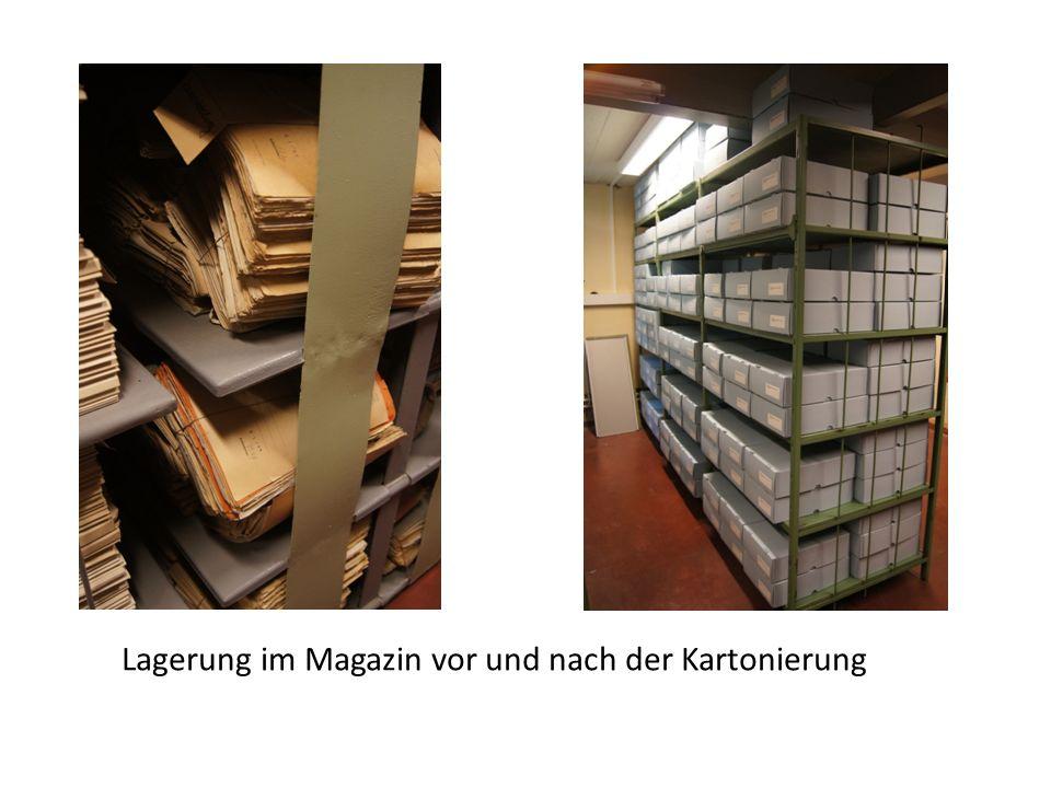 Lagerung im Magazin vor und nach der Kartonierung
