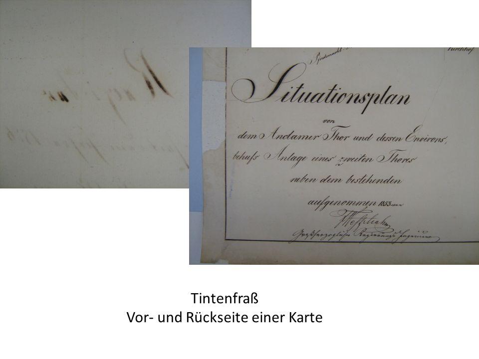 Tintenfraß Vor- und Rückseite einer Karte