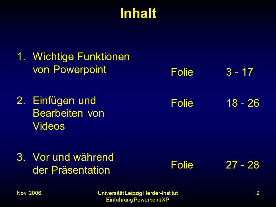 Nov. 2006Universität Leipzig Herder-Institut Einführung Powerpoint XP 2 Inhalt 1.Wichtige Funktionen von Powerpoint 2.Einfügen und Bearbeiten von Vide