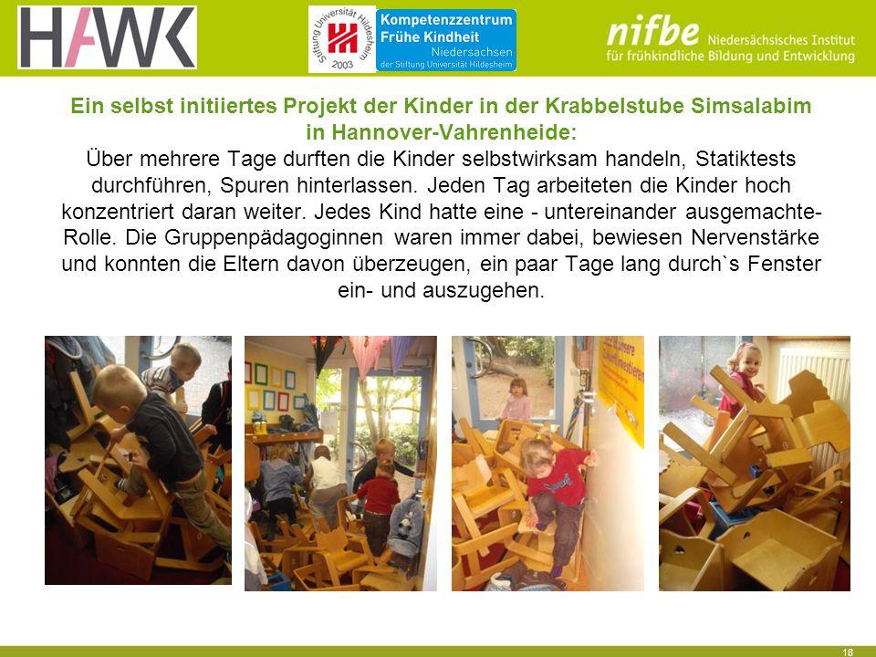 18 Ein selbst initiiertes Projekt der Kinder in der Krabbelstube Simsalabim in Hannover-Vahrenheide: Über mehrere Tage durften die Kinder selbstwirksa