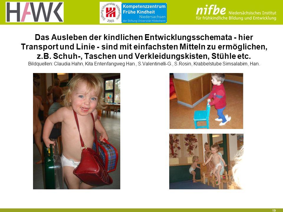19 Das Ausleben der kindlichen Entwicklungsschemata - hier Transport und Linie - sind mit einfachsten Mitteln zu ermöglichen, z.B. Schuh-, Taschen und