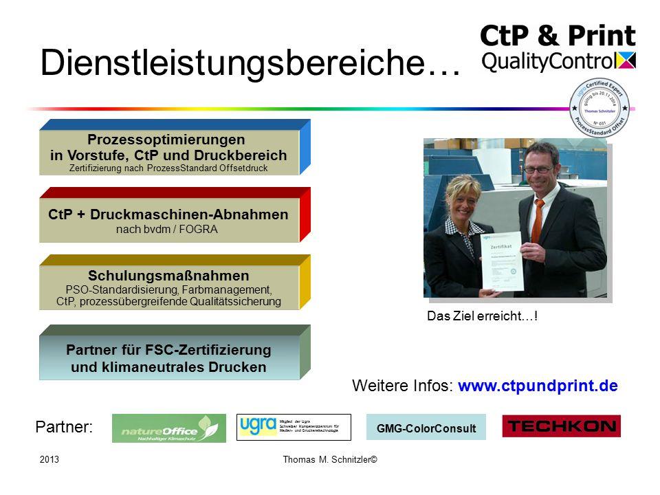 2013Thomas M. Schnitzler© Dienstleistungsbereiche… CtP + Druckmaschinen-Abnahmen nach bvdm / FOGRA Prozessoptimierungen in Vorstufe, CtP und Druckbere