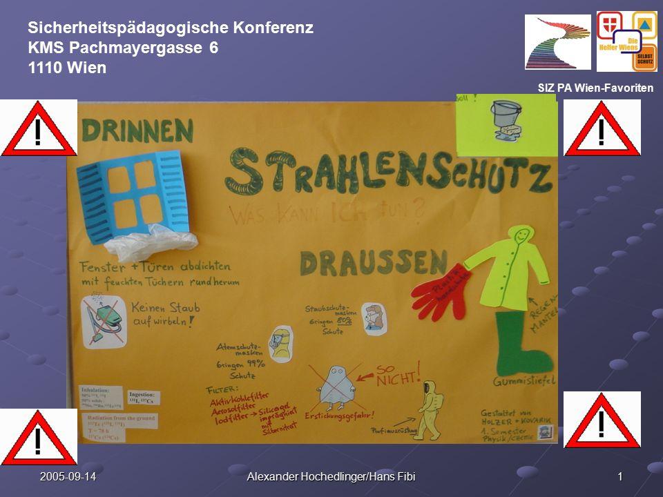 SIZ PA Wien-Favoriten Sicherheitspädagogische Konferenz KMS Pachmayergasse 6 1110 Wien 2005-09-14 Alexander Hochedlinger/Hans Fibi 1