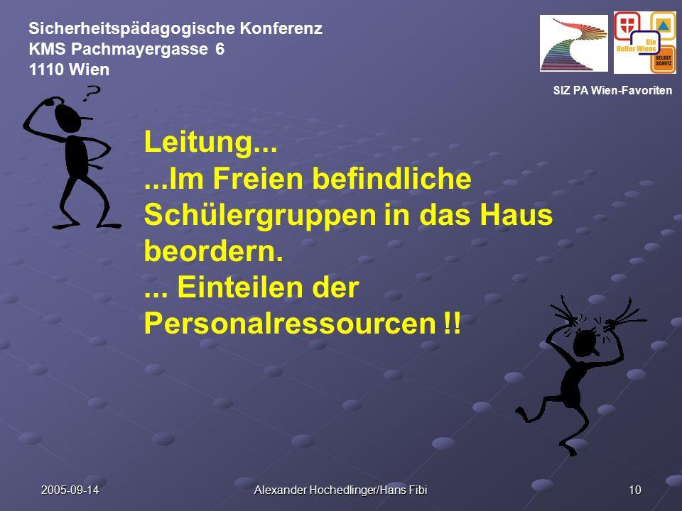 SIZ PA Wien-Favoriten Sicherheitspädagogische Konferenz KMS Pachmayergasse 6 1110 Wien 2005-09-14 Alexander Hochedlinger/Hans Fibi 10 Leitung......Im