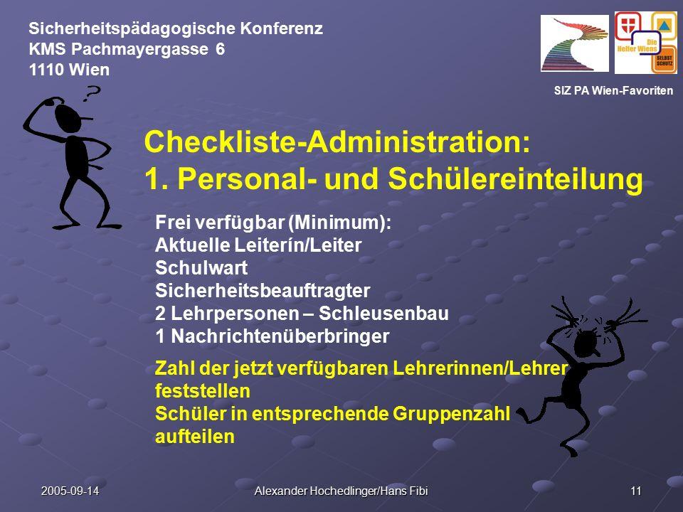 SIZ PA Wien-Favoriten Sicherheitspädagogische Konferenz KMS Pachmayergasse 6 1110 Wien 2005-09-14 Alexander Hochedlinger/Hans Fibi 11 Checkliste-Administration: 1.