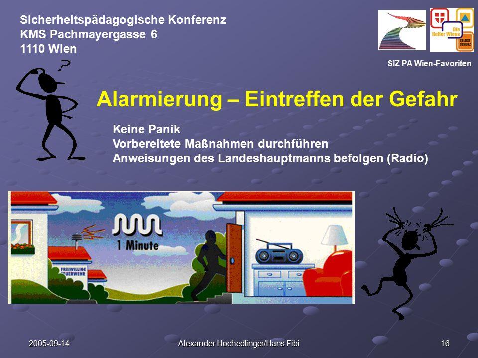 SIZ PA Wien-Favoriten Sicherheitspädagogische Konferenz KMS Pachmayergasse 6 1110 Wien 2005-09-14 Alexander Hochedlinger/Hans Fibi 16 Alarmierung – Ei