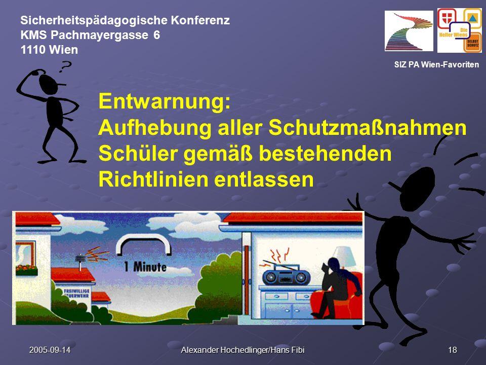 SIZ PA Wien-Favoriten Sicherheitspädagogische Konferenz KMS Pachmayergasse 6 1110 Wien 2005-09-14 Alexander Hochedlinger/Hans Fibi 18 Entwarnung: Aufh