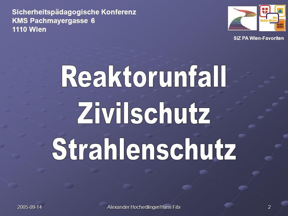 SIZ PA Wien-Favoriten Sicherheitspädagogische Konferenz KMS Pachmayergasse 6 1110 Wien 2005-09-14 Alexander Hochedlinger/Hans Fibi 2