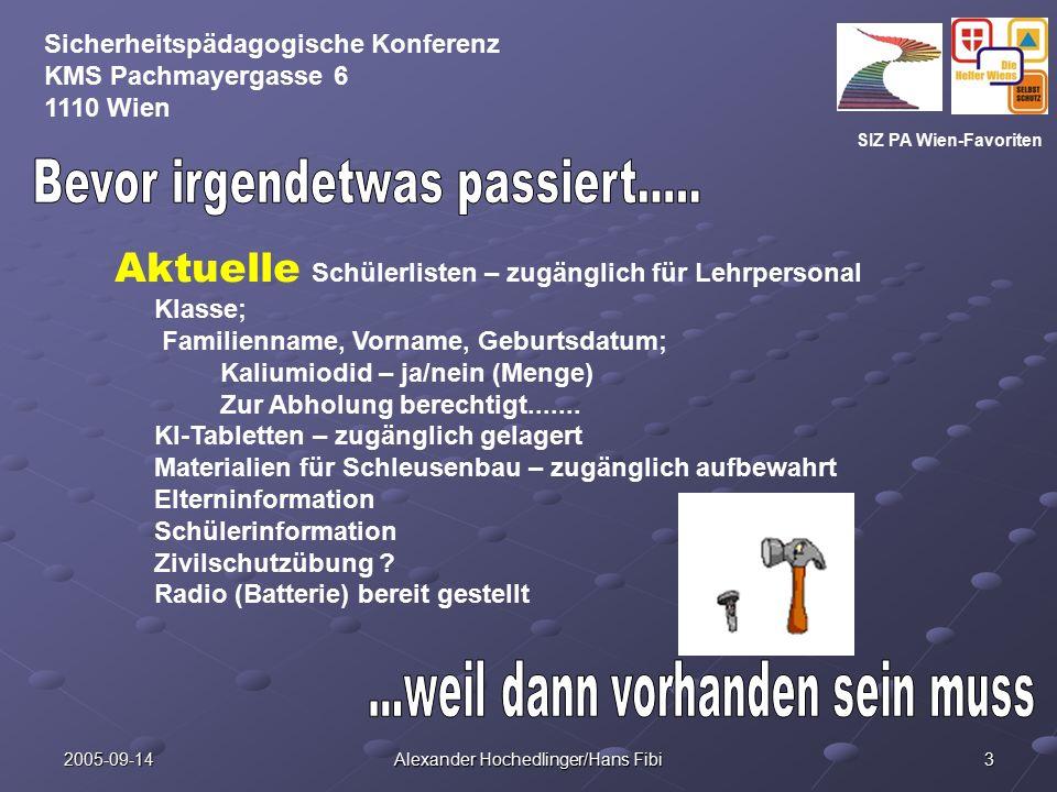SIZ PA Wien-Favoriten Sicherheitspädagogische Konferenz KMS Pachmayergasse 6 1110 Wien 2005-09-14 Alexander Hochedlinger/Hans Fibi 4 Schleuse: 2 Leitern Zivilschutzkoffer 1 Kübel (wassergefüllt) Paar Gummihandschuhe Paar Stiefel (Ersatz: passendes Schuhwerk) 1 Mop (passendes saugfähiges Tuch) Schutzkleidung für Schülerinnen und Schüler (wenn vorhanden)