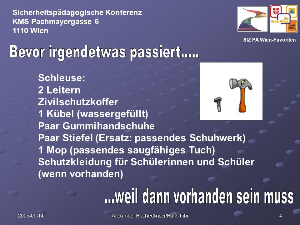SIZ PA Wien-Favoriten Sicherheitspädagogische Konferenz KMS Pachmayergasse 6 1110 Wien 2005-09-14 Alexander Hochedlinger/Hans Fibi 4 Schleuse: 2 Leite
