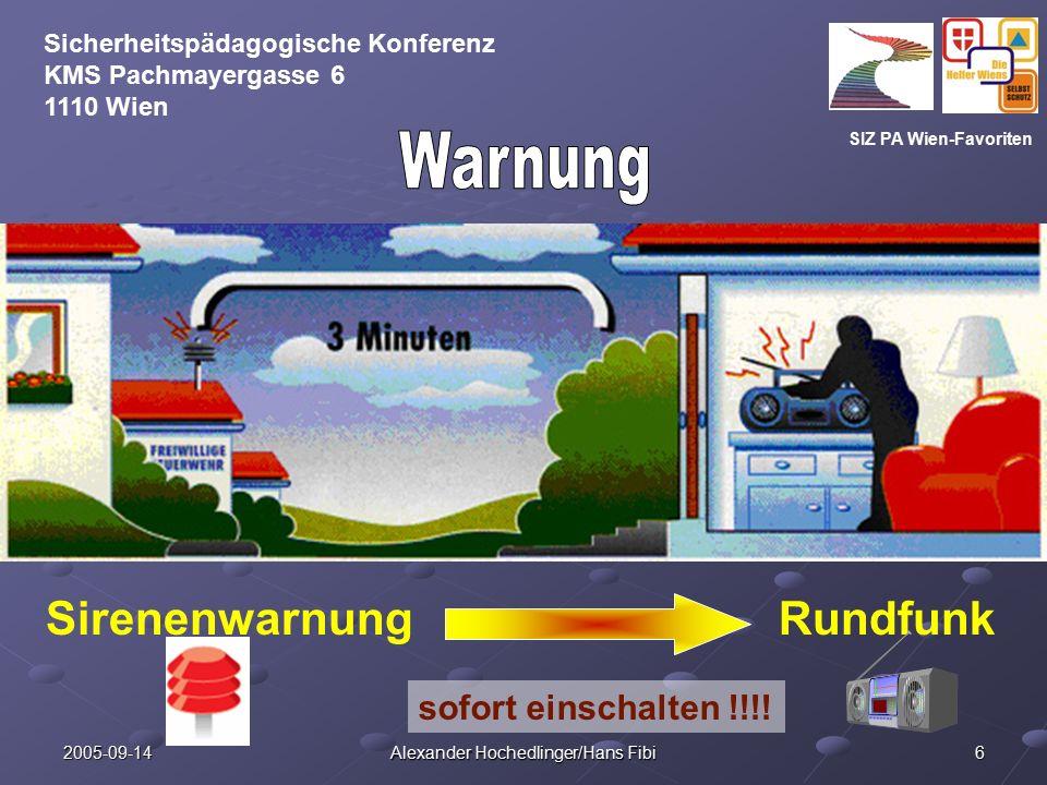 SIZ PA Wien-Favoriten Sicherheitspädagogische Konferenz KMS Pachmayergasse 6 1110 Wien 2005-09-14 Alexander Hochedlinger/Hans Fibi 17 Besondere Beachtung !.