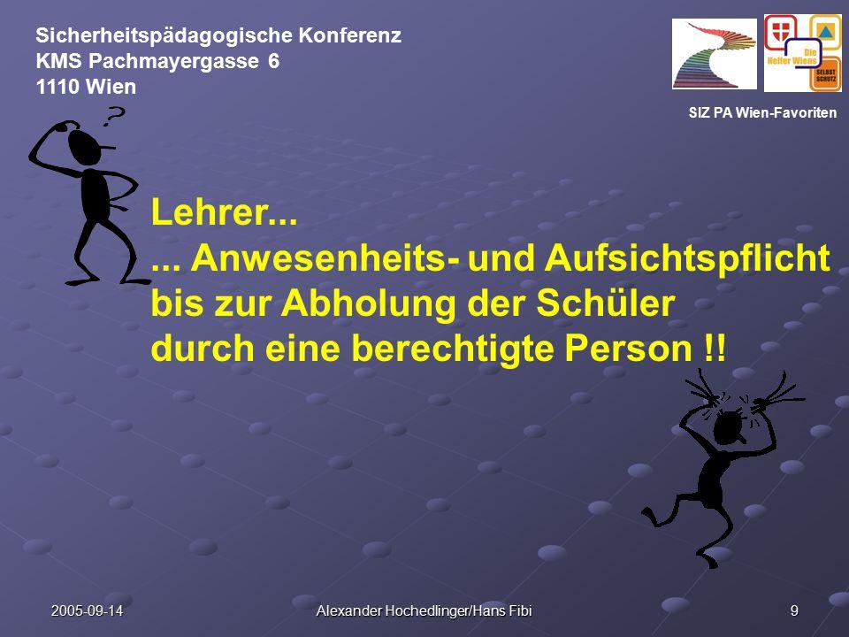 SIZ PA Wien-Favoriten Sicherheitspädagogische Konferenz KMS Pachmayergasse 6 1110 Wien 2005-09-14 Alexander Hochedlinger/Hans Fibi 9 Lehrer......