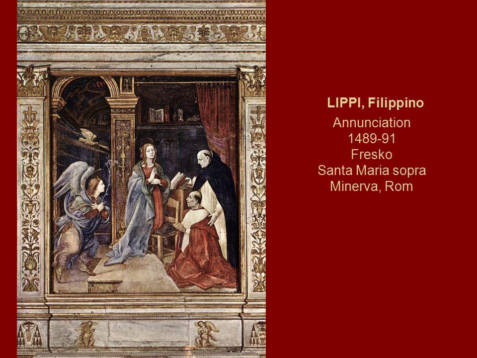 LIPPI, Filippino Annunciation 1489-91 Fresko Santa Maria sopra Minerva, Rom