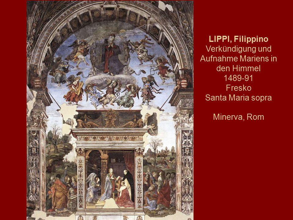LIPPI, Filippino Verkündigung und Aufnahme Mariens in den Himmel 1489-91 Fresko Santa Maria sopra Minerva, Rom