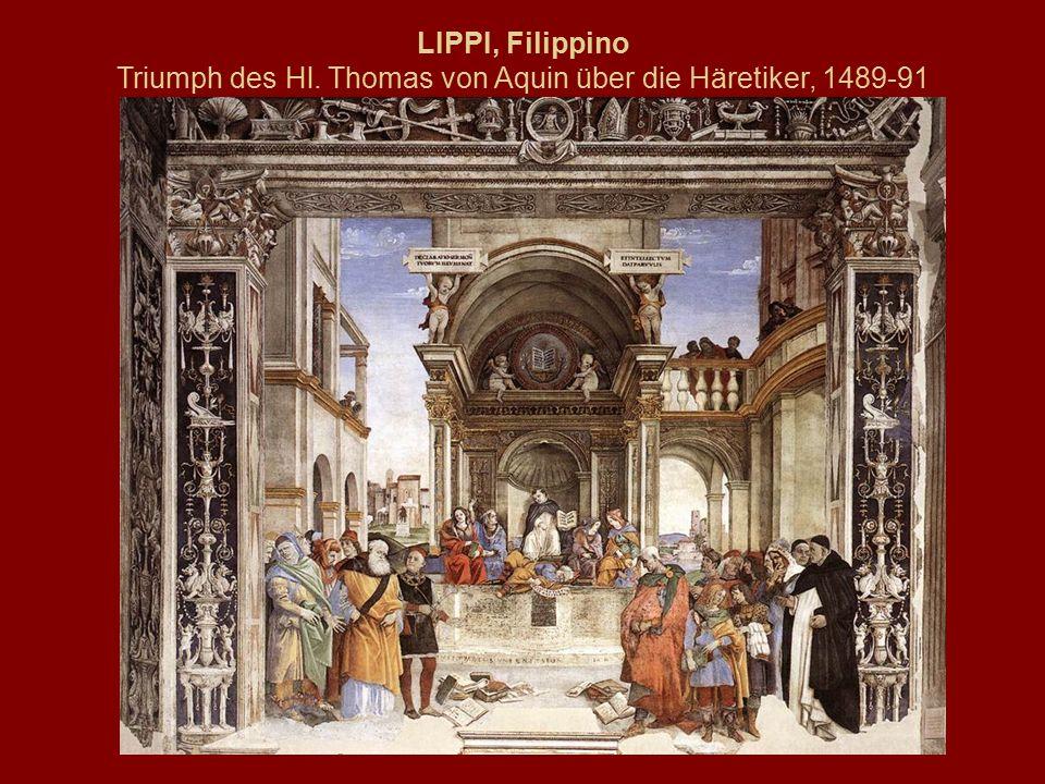 LIPPI, Filippino Triumph des Hl. Thomas von Aquin über die Häretiker, 1489-91