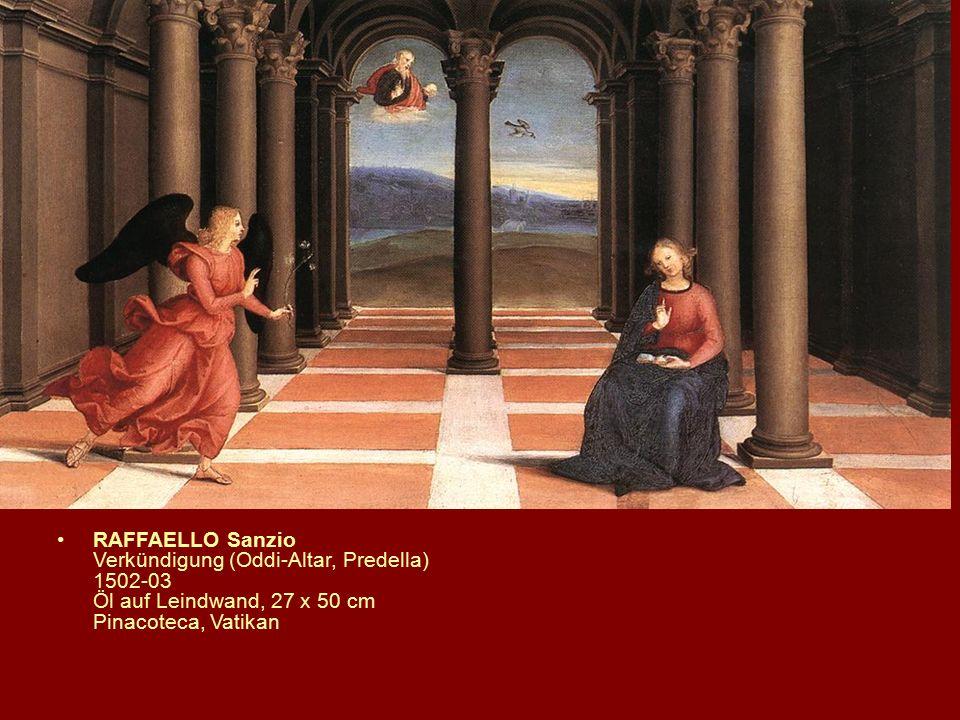 RAFFAELLO Sanzio Verkündigung (Oddi-Altar, Predella) 1502-03 Öl auf Leindwand, 27 x 50 cm Pinacoteca, Vatikan