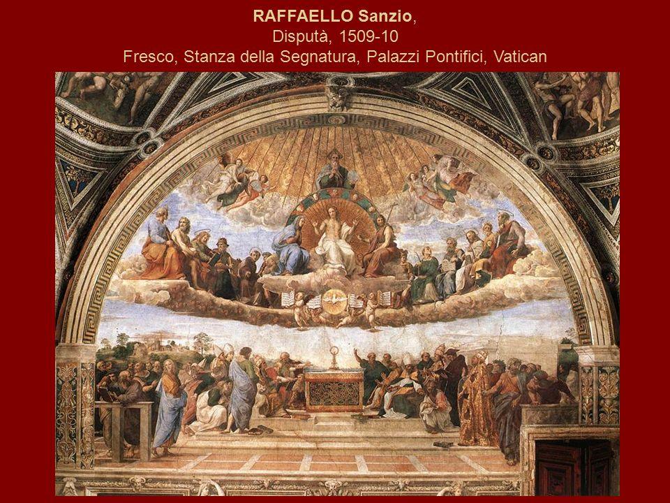 RAFFAELLO Sanzio, Disputà, 1509-10 Fresco, Stanza della Segnatura, Palazzi Pontifici, Vatican