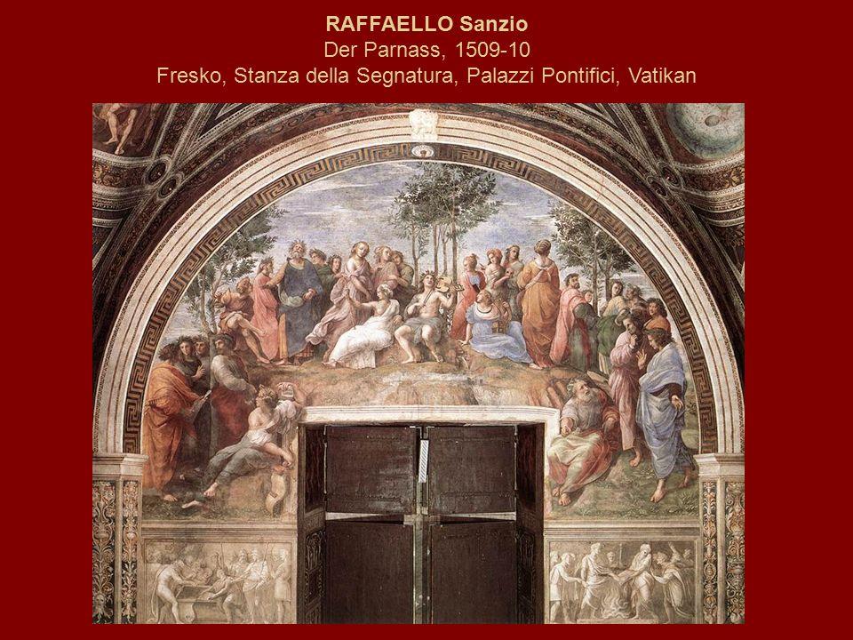 RAFFAELLO Sanzio Der Parnass, 1509-10 Fresko, Stanza della Segnatura, Palazzi Pontifici, Vatikan