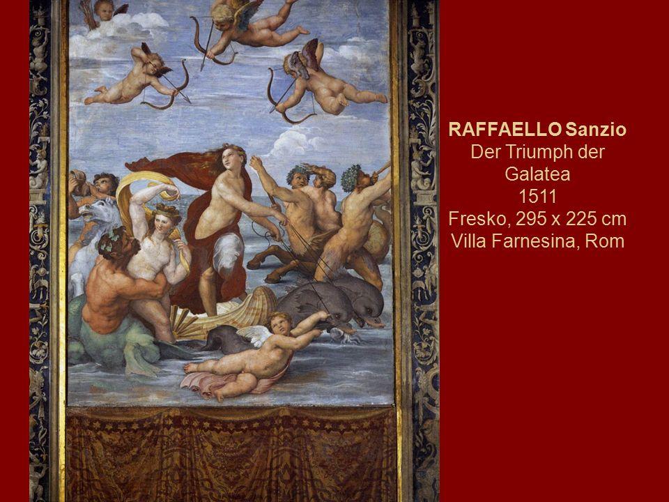 RAFFAELLO Sanzio Der Triumph der Galatea 1511 Fresko, 295 x 225 cm Villa Farnesina, Rom