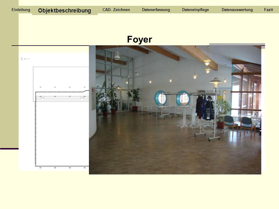 Foyer Objektbeschreibung CAD- ZeichnenDatenerfassungDateneinpflegeDatenauswertungFazitEinleitung