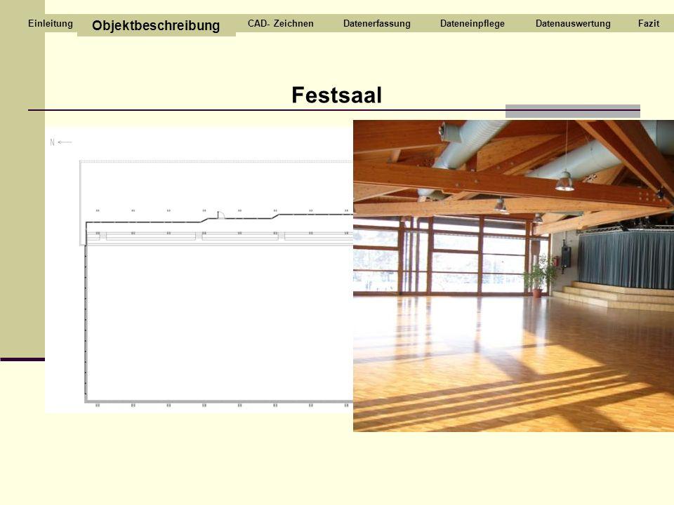 Festsaal Objektbeschreibung CAD- ZeichnenDatenerfassungDateneinpflegeDatenauswertungFazitEinleitung