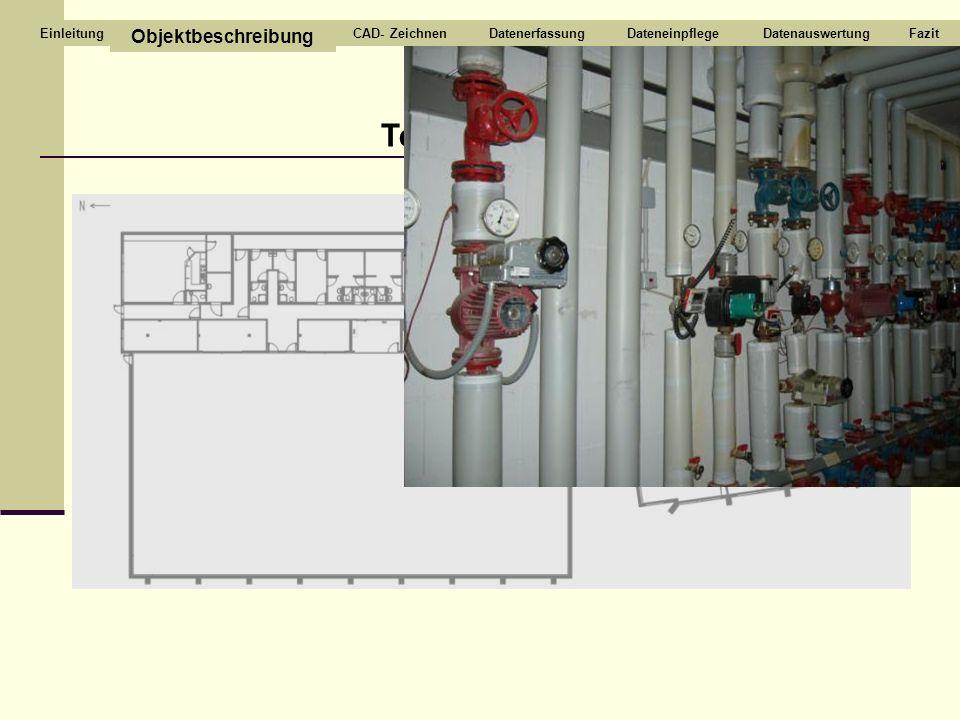Technikraum Objektbeschreibung CAD- ZeichnenDatenerfassungDateneinpflegeDatenauswertungFazitEinleitung