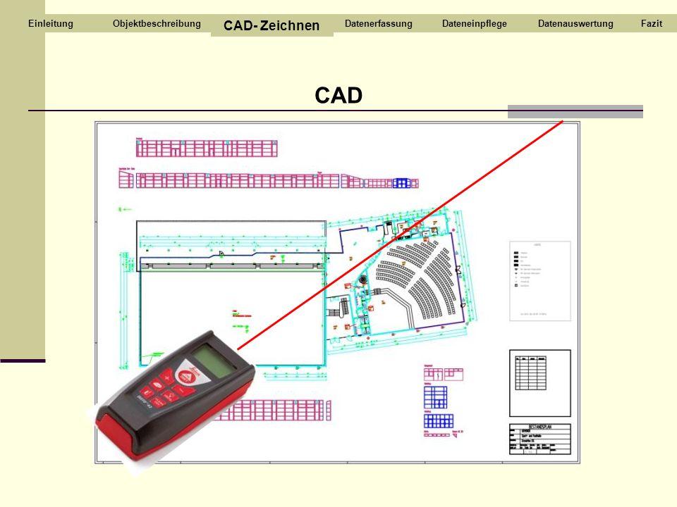 CAD Objektbeschreibung CAD- Zeichnen DatenerfassungDateneinpflegeDatenauswertungFazitEinleitung