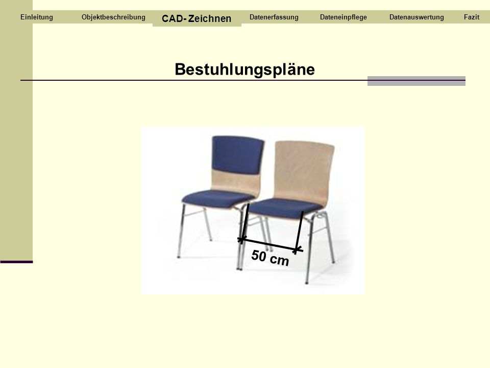 Bestuhlungspläne 50 cm Objektbeschreibung CAD- Zeichnen DatenerfassungDateneinpflegeDatenauswertungFazitEinleitung