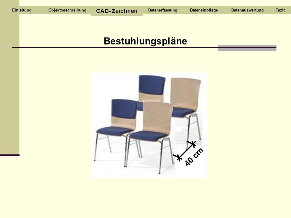 Bestuhlungspläne 40 cm Objektbeschreibung CAD- Zeichnen DatenerfassungDateneinpflegeDatenauswertungFazitEinleitung