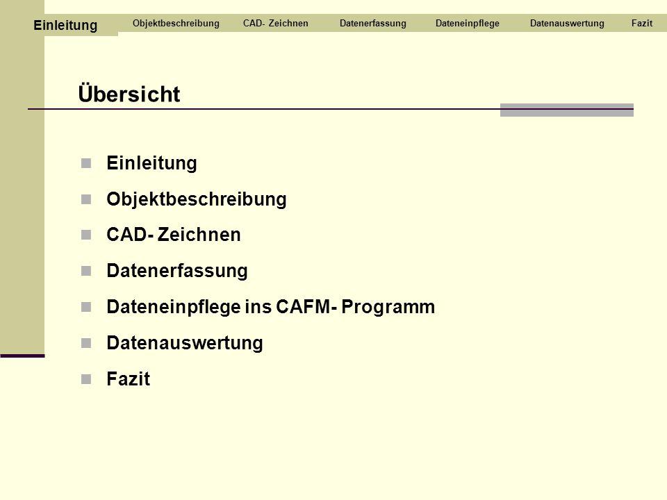 Einleitung Objektbeschreibung CAD- Zeichnen Datenerfassung Dateneinpflege ins CAFM- Programm Datenauswertung Fazit Übersicht CAD- ZeichnenDatenerfassu