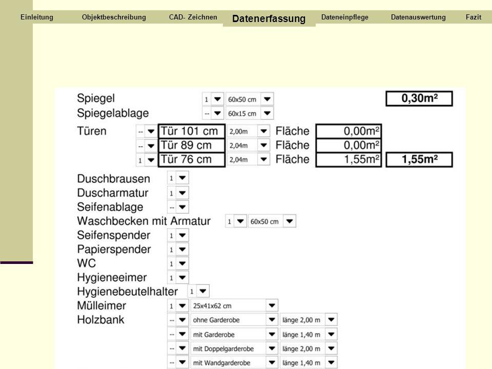 ObjektbeschreibungCAD- Zeichnen Datenerfassung DateneinpflegeDatenauswertungFazitEinleitung