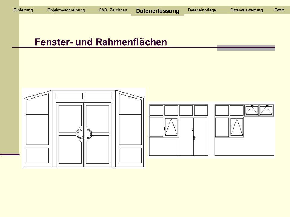 CAD- Zeichnen Datenerfassung DateneinpflegeDatenauswertungEinleitung Fenster- und Rahmenflächen FazitObjektbeschreibung