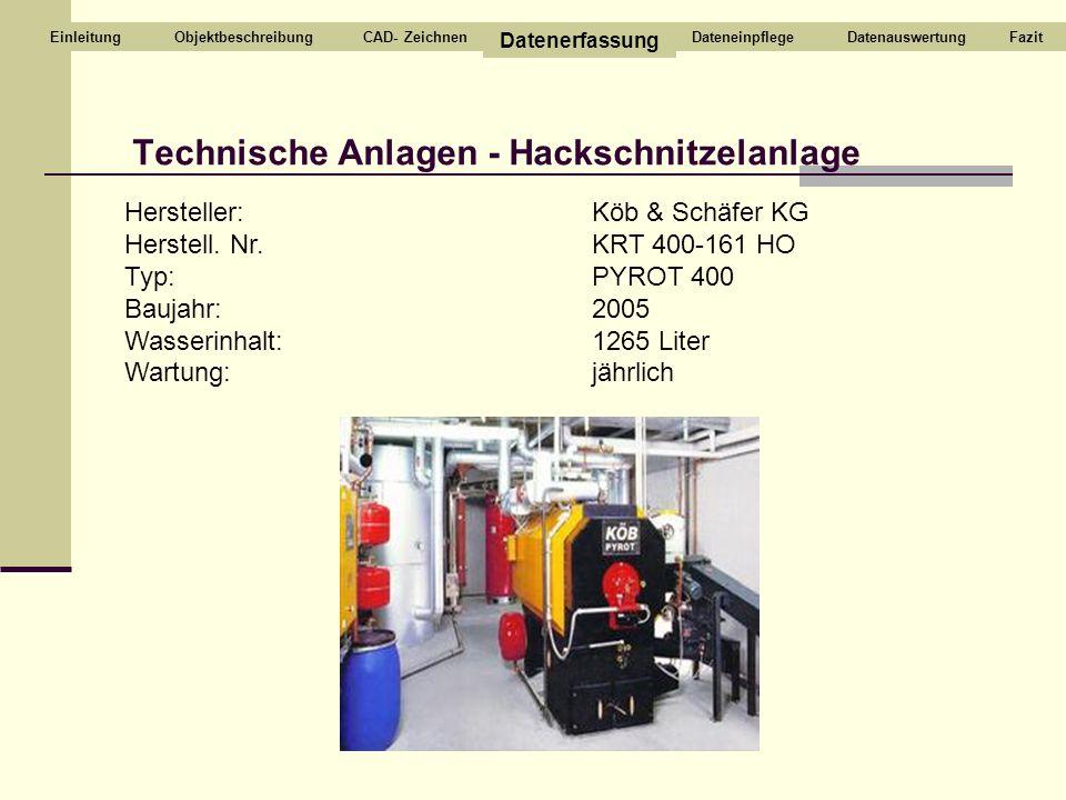 Technische Anlagen - Hackschnitzelanlage CAD- Zeichnen Datenerfassung DateneinpflegeDatenauswertungEinleitung Hersteller: Herstell. Nr. Typ: Baujahr: