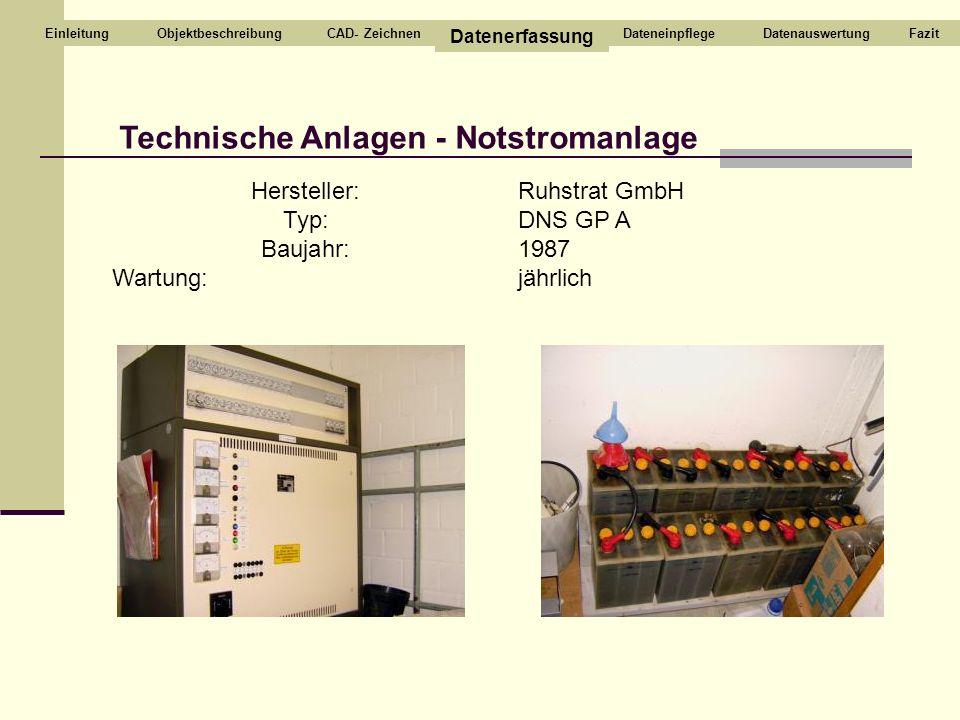 Technische Anlagen - Notstromanlage CAD- Zeichnen Datenerfassung DateneinpflegeDatenauswertungEinleitung Hersteller: Typ: Baujahr: Wartung: Ruhstrat G