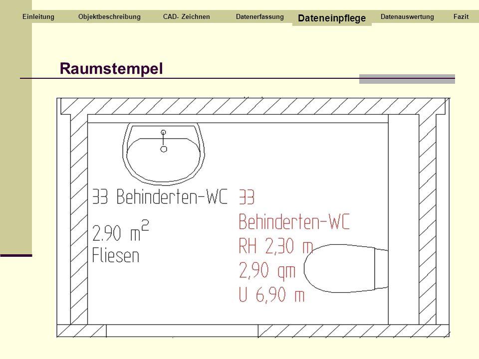 Raumstempel CAD- ZeichnenDatenerfassung Dateneinpflege DatenauswertungEinleitungFazitObjektbeschreibung