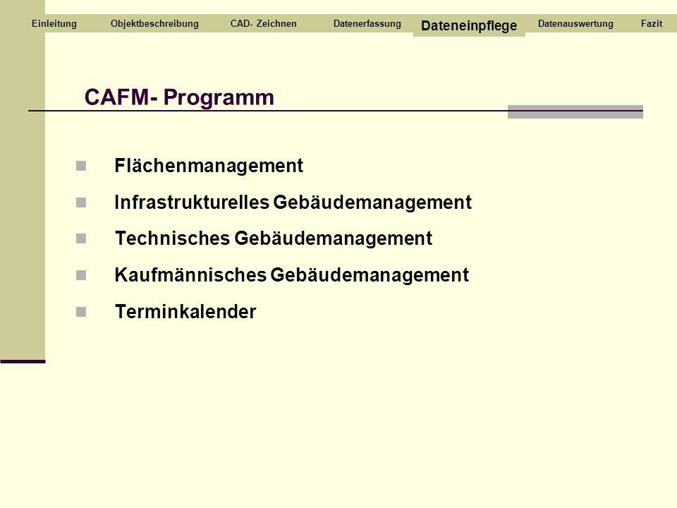Flächenmanagement Infrastrukturelles Gebäudemanagement Technisches Gebäudemanagement Kaufmännisches Gebäudemanagement Terminkalender CAFM- Programm CA