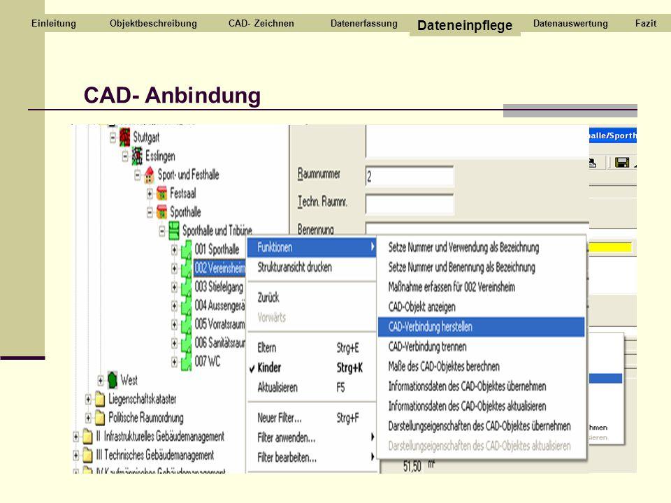 CAD- Anbindung CAD- ZeichnenDatenerfassung Dateneinpflege DatenauswertungEinleitungFazitObjektbeschreibung