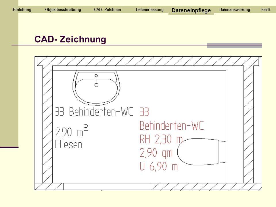 CAD- ZeichnenDatenerfassung Dateneinpflege DatenauswertungEinleitungFazit CAD- Zeichnung Objektbeschreibung