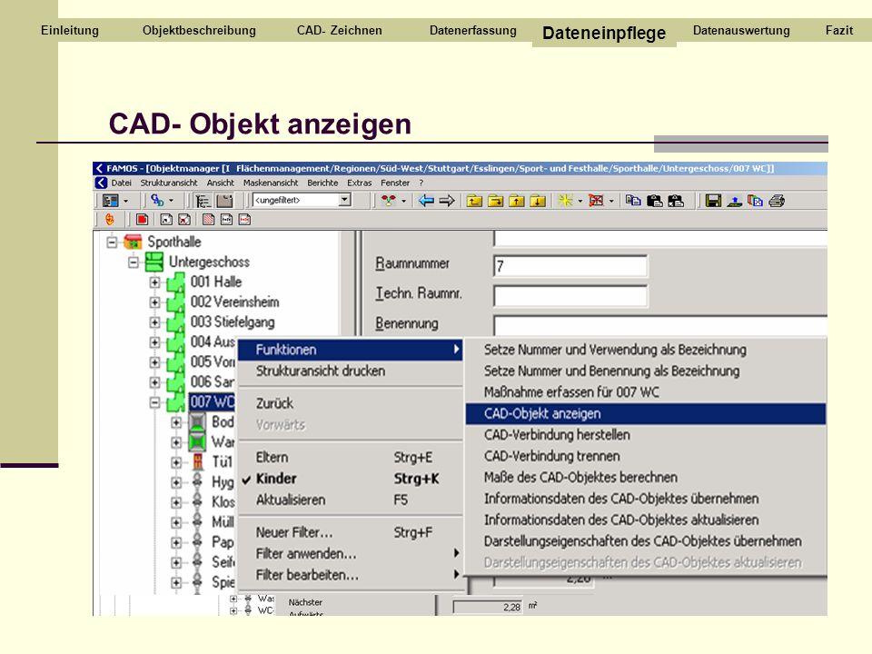 CAD- Objekt anzeigen CAD- ZeichnenDatenerfassung Dateneinpflege DatenauswertungEinleitungFazitObjektbeschreibung