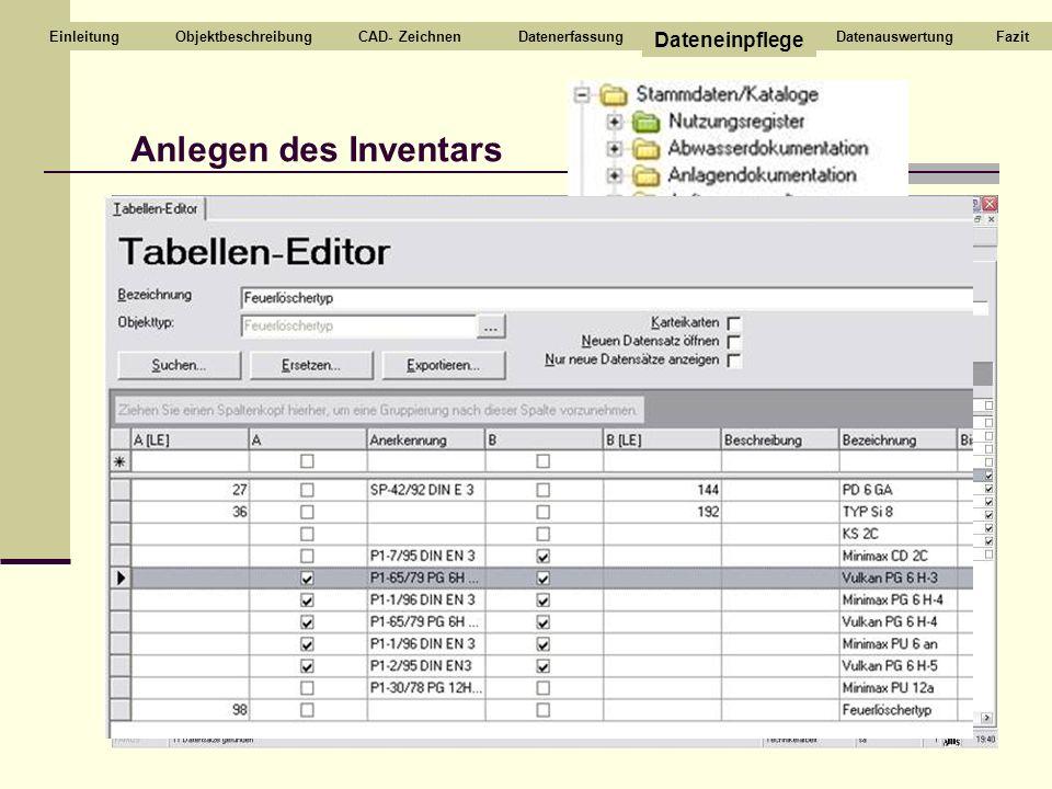 Anlegen des Inventars CAD- ZeichnenDatenerfassung Dateneinpflege DatenauswertungEinleitungFazitObjektbeschreibung
