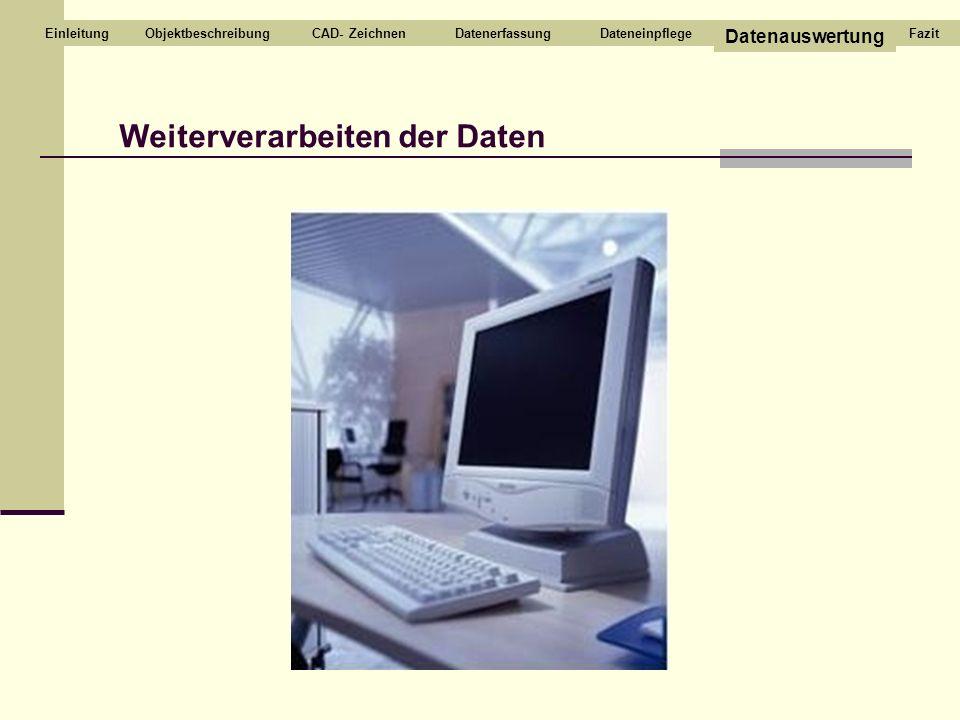 Weiterverarbeiten der Daten CAD- ZeichnenDatenerfassungDateneinpflege Datenauswertung EinleitungFazitObjektbeschreibung
