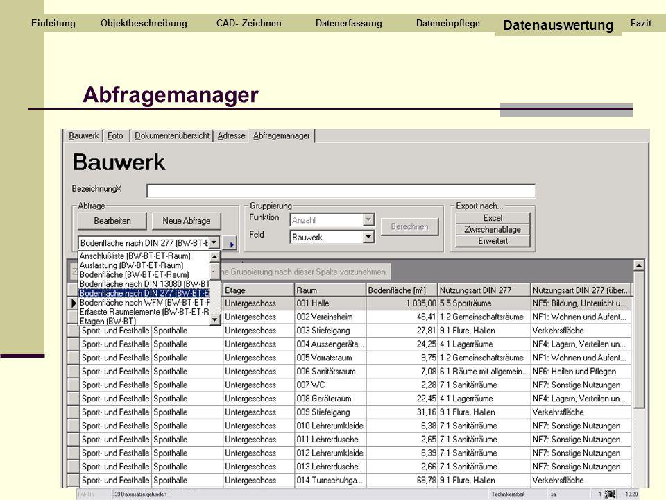 CAD- ZeichnenDatenerfassungDateneinpflege Datenauswertung Einleitung Abfragemanager FazitObjektbeschreibung