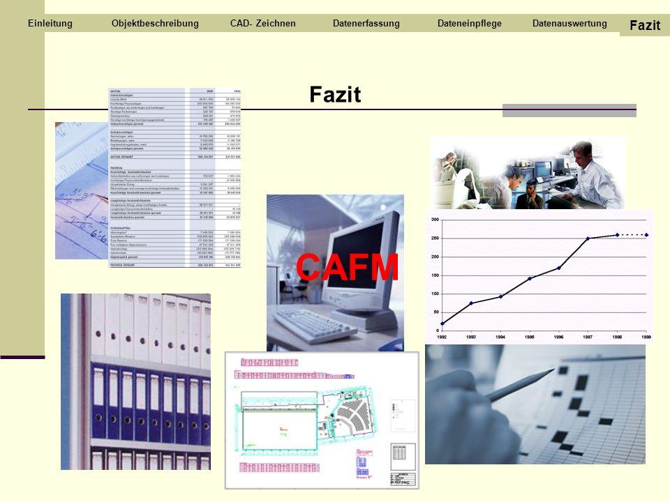 Fazit ObjektbeschreibungCAD- ZeichnenDatenerfassungDateneinpflegeDatenauswertung Fazit Einleitung CAFM