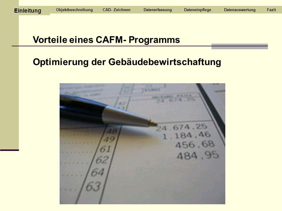 Vorteile eines CAFM- Programms Optimierung der Gebäudebewirtschaftung CAD- ZeichnenDatenerfassungDateneinpflegeDatenauswertungFazit Einleitung Objektb