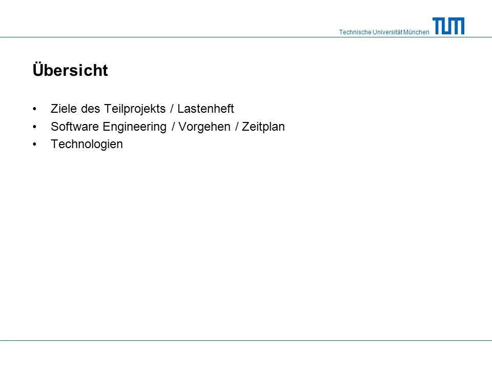 Technische Universität München Übersicht Ziele des Teilprojekts / Lastenheft Software Engineering / Vorgehen / Zeitplan Technologien
