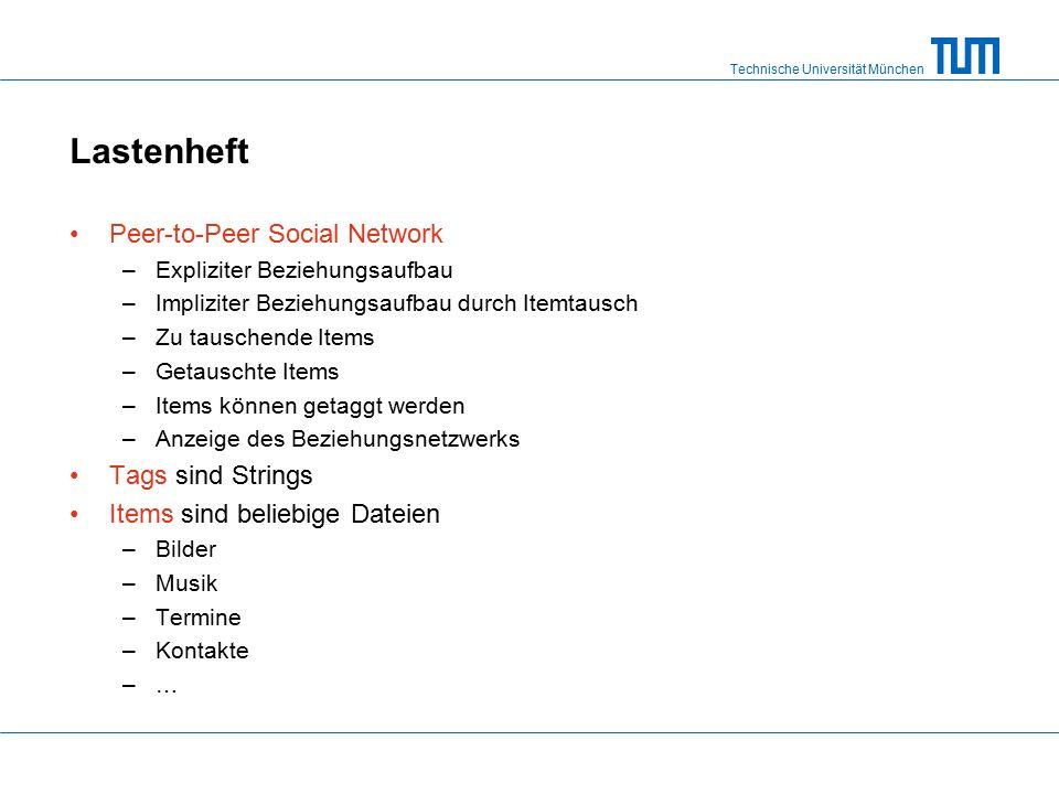 Technische Universität München Lastenheft Peer-to-Peer Social Network –Expliziter Beziehungsaufbau –Impliziter Beziehungsaufbau durch Itemtausch –Zu tauschende Items –Getauschte Items –Items können getaggt werden –Anzeige des Beziehungsnetzwerks Tags sind Strings Items sind beliebige Dateien –Bilder –Musik –Termine –Kontakte –…