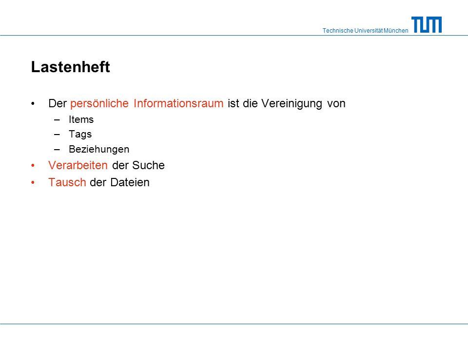 Technische Universität München Lastenheft Der persönliche Informationsraum ist die Vereinigung von –Items –Tags –Beziehungen Verarbeiten der Suche Tausch der Dateien
