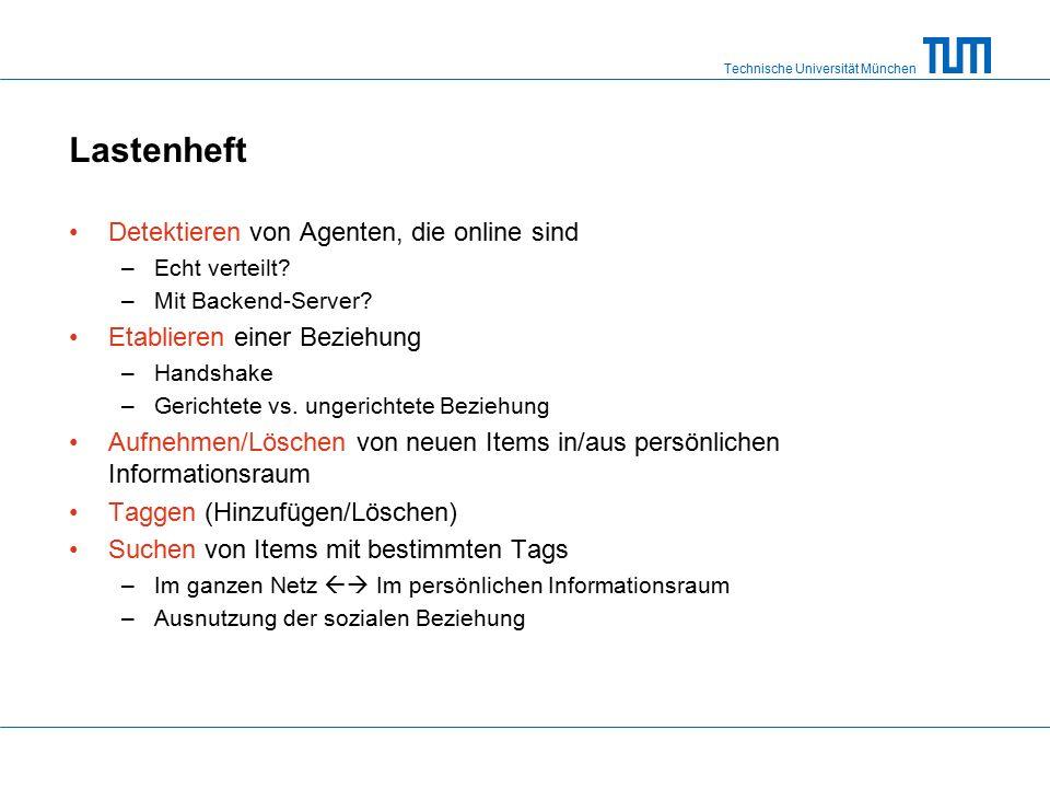 Technische Universität München Lastenheft Detektieren von Agenten, die online sind –Echt verteilt.