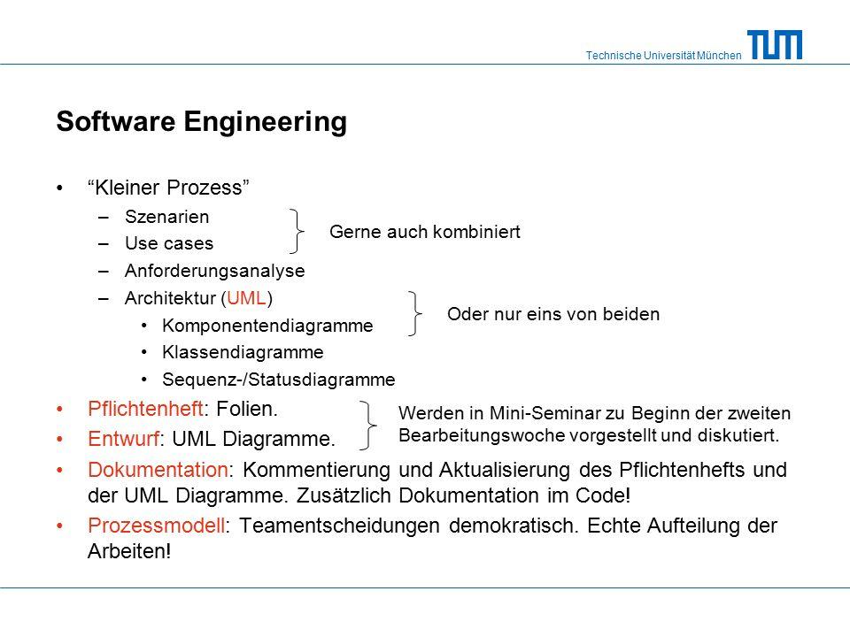 Technische Universität München Software Engineering Kleiner Prozess –Szenarien –Use cases –Anforderungsanalyse –Architektur (UML) Komponentendiagramme Klassendiagramme Sequenz-/Statusdiagramme Pflichtenheft: Folien.