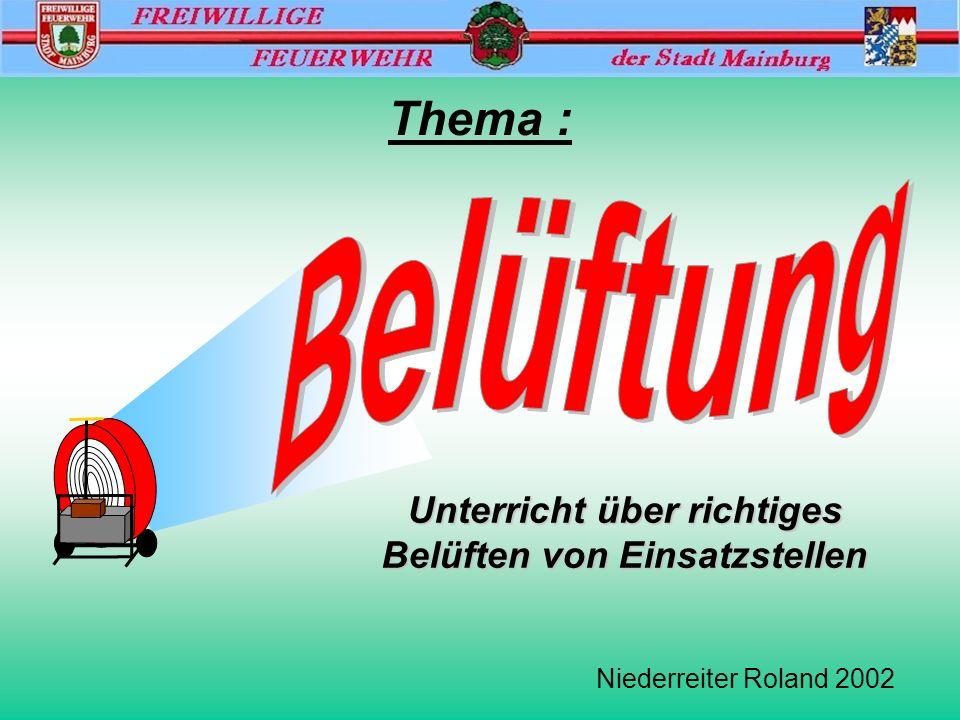 Freiwillige Feuerwehr Mainburg Belüftung Niederreiter Roland 2002 Überdrucklüfter / Luftdurchsatzdaten Lüfter mit Wasserturbine 820/400 m 3 /min Lüfter mit Verbrennungsmotor 480 m 3 /min Lüfter mit Elektromotor 280 m 3 /min Lüfter mit Elektromotor (Akku) 320 m 3 /min Zum Vergleich: Auer- Lüfter (absaugen) 160 m 3 /min